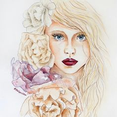 Drawing of a pretty young lady with flowers
