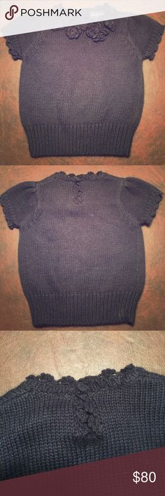 Ralph Lauren Angora Sweater Navy blue Ralph Lauren sweater. Cotton/angora blend is crazy soft. Beautiful flower detail at neckline, sleeve detail and button back closure. Worn once for photos, then 'saved' for the right occasion that warranted a high end sweater. Wish I had used it more. 😟 Ralph Lauren Shirts & Tops Sweaters