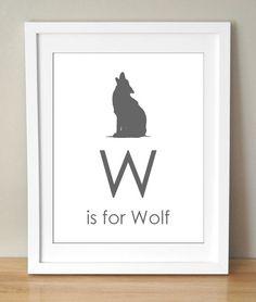 W is for Wolf 8x10 Art Print Personalized Baby Kids Nursery Decor. $15.00, via Etsy.