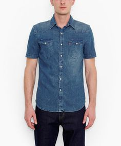 Levi's Barstow Western Shirt - Blue Cracked Denim - Shirts