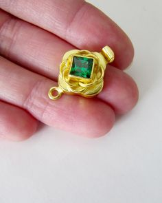 Gemstone clasp, emerald green quartz gold vermeil clasp, square designer floral toggle, stone rose flower ornate designer by FindRare on Etsy https://www.etsy.com/transaction/1228222706