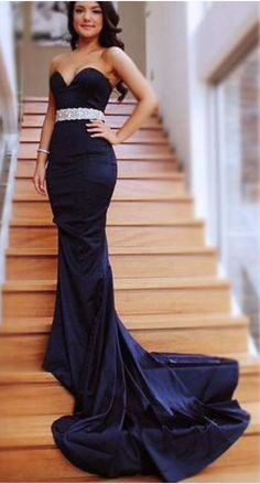 Charming Prom Dress, Sweethear Prom Dress, Mermaid Prom Dress, Long Evening Dresses, With Drailing Navy Blue Prom Dresses, Blue Evening Dresses, Prom Dresses 2017, Backless Prom Dresses, Mermaid Prom Dresses, Party Dresses, Prom Gowns, Lace Gowns, Lace Dresses