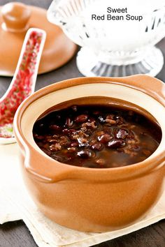 A twist on the popular Chinese Sweet Red Bean Soup dessert made with the addition of black glutinous rice. Delicious warm or cold with coconut cream. Dessert Dishes, Dessert Drinks, Dessert Recipes, Drink Recipes, Soup Recipes, Asian Desserts, Sweet Desserts, Chinese Desserts, Asian Recipes