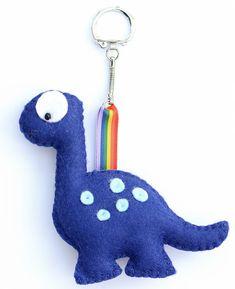 Dinosaur Keyring Dinosaur Keychain Felt Keyring by FlossyTots