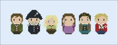 This is a parody, an inspirational cross stitch pattern of the movie Les Misérables, featuring: Jean Valjean, Javert, Cosette, Fantine, Marius Pontmercy and Enjolras