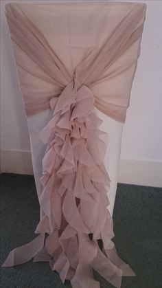 Chiffon Hood with ruffles in dusky pink www.sussexeventsmanagement.co.uk