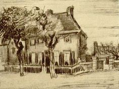 Vicarage at Nuenen - Vincent van Gogh . Created in Nuenen in October, Located at Location unknown. Find a print of this Pencil, pen Drawing Vincent Van Gogh, Van Gogh Drawings, Van Gogh Paintings, Van Gogh Art, Art Van, Desenhos Van Gogh, Van Gogh Pinturas, Impressionist Artists, Impressionist
