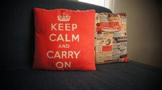 """Keep Calm"" and ""Comics"" pillow cases."