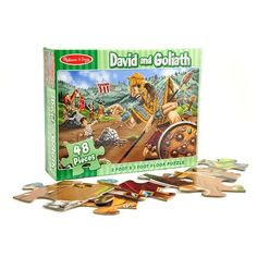 "[""Kids will love piecing together this David and Goliath floor puzzle! Featuring 48 puzzle pieces, kids can recreate the famous Bible scene for themselves. Puzzle measures 2' x 3'.""] $12.99"