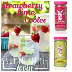 Pink Zebra recipe for Strawberry Lime Cooler using Fresh Sweet Strawberry and Lime Slushie sprinkles. Go to www.pinkzebrahome.com/mrasley to order.