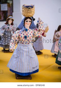 Portugal , Algarve , Loule , arts & crafts market , souvenir novelty dolls in traditional dress costume costumes Stock Photo