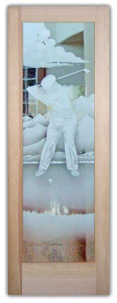 Desert Golfer - Glass Entry Doors Etched Glass Golfer on Golf Course Door Art Exterior Doors With Glass, Entry Doors With Glass, Glass Front Door, Glass Doors, Glass Etching, Etched Glass, Front Entry, Front Doors, Art Deco Borders