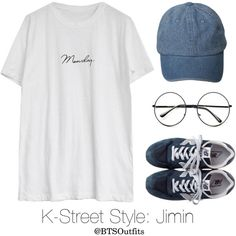 K-Street Style: Jimin by btsoutfits on Polyvore featuring moda, Goroke, Retrò and New Balance