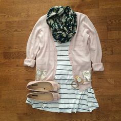 Pink cardigan, stripped shirt, patterned scarf and ballet flats. Cute!