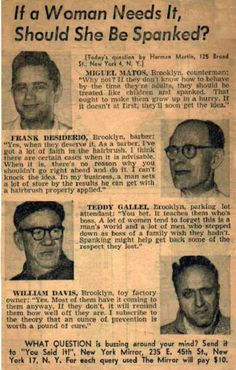 1950s newspaper article: Should A Woman Be Spanked? WOW - along with the pictures of four men whose wives probably hated them.