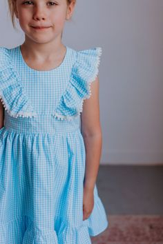 Tinsley blue gingham pinafore dress with pom pom trim ruffle sleeves. The perfect birthday party dress or special occasion dress for kids. Vintage Kids Fashion, Girls Fall Fashion, Girl Fashion, Autumn Fashion, Fashion 2020, Cute Girl Outfits, Cool Outfits, Fall Dresses, Girls Dresses