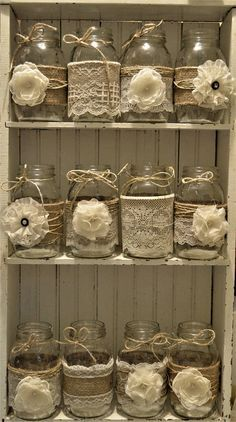 Bridal Shower Decorations Wedding Centerpieces Burlap Mason Jars No Jars Baptism Decorations Mason Jar Centerpieces Anniversary Burlap Mason Jars, Mason Jar Crafts, Mason Jar Diy, Bottle Crafts, Wedding Centerpieces Mason Jars, Vintage Centerpieces, Burlap Centerpieces, Centerpiece Decorations, Baptism Decorations