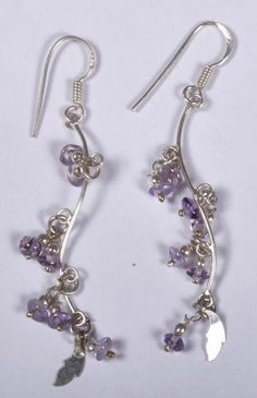 925 Solid Sterling Silver Earring Natural Amethyst Gemstone 2.5 Inches JSEA-66 #JaipurSilver