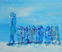 "Saatchi Art Artist Monika Vitanyi; Painting, ""Kindergarten II. Kids, follow me keep  holding your hands and walking"" #art"