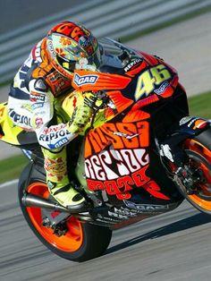 Rossi on Repsol Honda (Austin Powers fairings)
