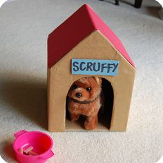 12 Cool DIY Cardboard Playhouses and Toys for Kids. Build wooden dog house to go with playhouse Cardboard Box Crafts, Cardboard Playhouse, Cardboard Toys, Dog Houses, Play Houses, Cool Diy, Home Design, Diy Design, Diy For Kids