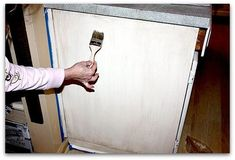 The Short cut way to repaint kitchen cabinets with no sanding,stripping, or even removing the doors!