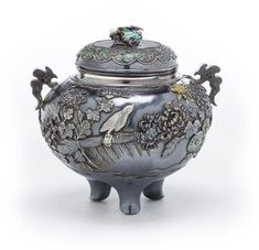 A silver and enamel incense burner (koro) and cover By Masanobu, Meiji period (late 19th century)