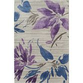 Found it at Wayfair - Lotus White/Purple Floral Plants Rug