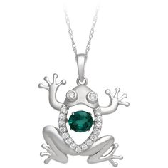 Created Emerald & Created White Sapphire Lovebeat Frog Pendant in... ($80) ❤ liked on Polyvore featuring jewelry, pendants, green, sterling silver charms pendants, sterling silver charms, sterling silver heart pendant, heart charm and sterling silver heart charm