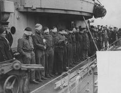 1943 United Kingdom, Scotland, Greenock, The POW crew of the German submarine U-643 on board a British destroyer On the left, the commander of U-643, Kapitänleutnant Hans SPEIDEL