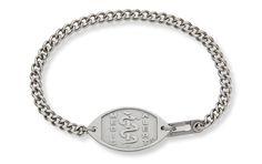 Stainless Steel Curb Chain Bracelet - Standard Emblem   Australia MedicAlert Foundation #medicalert #medical_ID #medical_bracelet #safety
