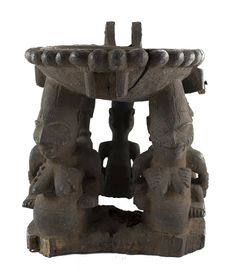 Yoruba bowl with figure supports, probably an agere ifa for divination Age : Mid century Height : 30 cm Width : 13 cm Free, trackable and insured shipping. Gifts For Art Lovers, Lovers Art, African Artwork, African Masks, African American Art, Tribal Art, Wood Carving, Female Art, Statues