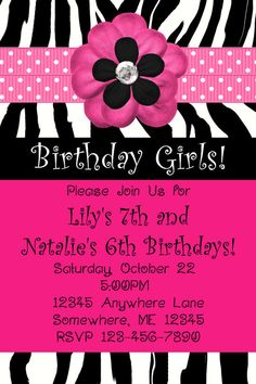 Zebra Flowers Diva Birthday Invitations You by DDHFavors04974, $12.00 Girl Birthday, Birthday Ideas, Birthday Invitations, Rsvp, Crochet Necklace, Birthdays, Lily, Unique Jewelry, Handmade Gifts