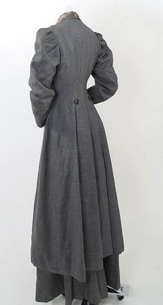 Victorian RARE Full Length Walking Suit Fine Gray Wool | eBay