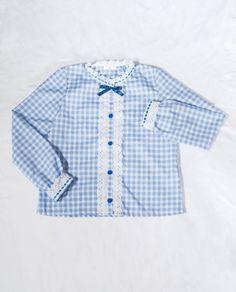 b380d6e6d3b6f Kawaii blue gingham long sleeve shirt with many cute details like lace and  ribbon trim!