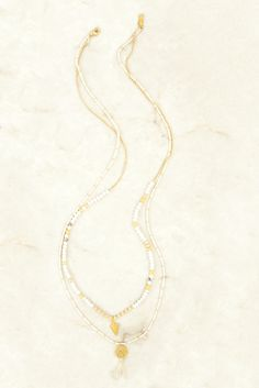 White Mix Double Strand Paper Bead Necklace - Chan Luu