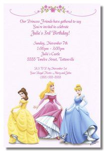 Disney's Princess Friends party invitations at TCWDesigns.com