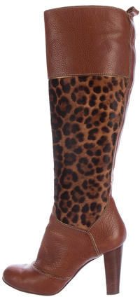 Dolce & Gabbana Ponyhair & Leather Knee-High Boots