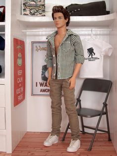 Ken doll in plaid shirt with real buttonholes and corduroy pants