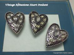 Vintage Rhinestone Heart Pendant by BobsFashionJewelry on Etsy