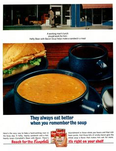 "https://flic.kr/p/DAgsKP | 1964 Food Ad, Campbell's Bean with Bacon Soup, ""Working Man's Lunch"" 