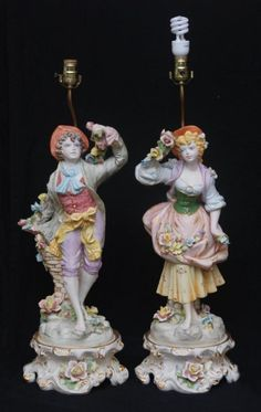 "PR LARGE VINTAGE CAPODIMONTE LAMPS Mid century. Each standing from base to top 32"" (81.28cm) One depicts a man other a woman."