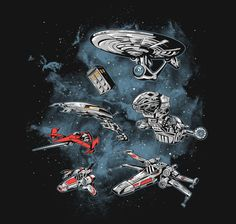 The Ultimate Space Fleet is reaching this galaxy. Pop culture spaceship mashup t-shirt designed by Melee_Ninja aka Adam Works. Day Of The Shirt, Nostalgia, Interstellar, Dubstep, Star Trek, Cool T Shirts, Spin, Pop Culture, Anime
