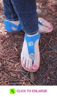 MONOGRAMMED BLUE JEWEL SANDALS SIZE 8. #ddp #personalized #monogrammed #jewel #sandals #spring #summer #shopddp