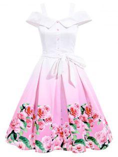 Belted Cold Shoulder Floral Going Out Dress