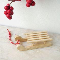 Adorno Navidad, trineo madera
