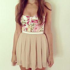 Summer outfit women's fashion girls teen cute skirt floral