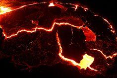 Un lago de fuego, en Erta Ale, Etiopia