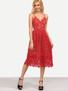 Shop Red Hollow Out Fit & Flare Lace Cami Dress online. SheIn offers Red Hollow Out Fit & Flare Lace Cami Dress & more to fit your fashionable needs.