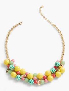 Talbots: Watermelon  Bead Drop Necklace